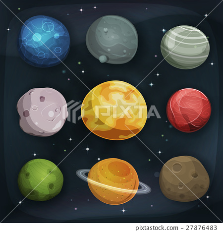Comic Planets Set On Space Background 27876483
