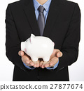 Man holding a piggy bank 27877674