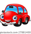 Cartoon funny red carcartoon, car, smiling, smile, 27881400
