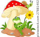Cute frog and snail cartoon with mushrooms 27881402