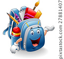 Cartoon school bag holding red apple 27881407