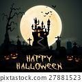 Halloween night background with castle and graveya 27881523