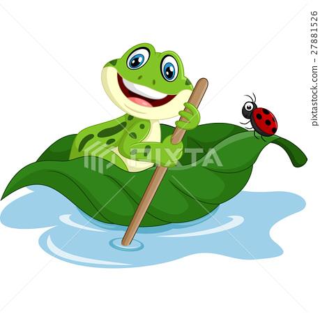 cartoon frog paddle leave 27881526