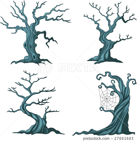 dead tree collection set isolated on white 27881683