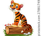 Cartoon tiger sitting on tree log 27881749