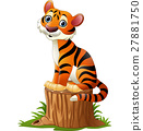 Cartoon tiger sitting on tree stump 27881750
