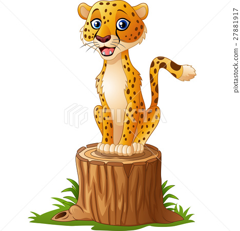 Cartoon cheetah sitting on the tree stump 27881917