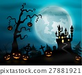 Halloween night background with pumpkins  27881921