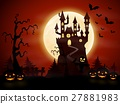 Halloween night background with castle and pumpkin 27881983