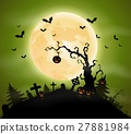 Halloween background with pumpkins hanging on tree 27881984