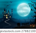 Halloween night background with castle and pumpkin 27882100