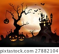 Halloween night background with castle and pumpkin 27882104