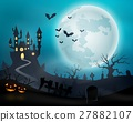 Halloween night background with castle and pumpkin 27882107