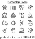 Gardening icon set in thin line style 27882439