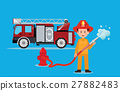 Fireman firefighter in uniform with water hose. 27882483