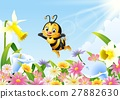 Cartoon bee holding honey dipper with flower backg 27882630