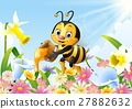 Cartoon bee holding honey bucket with flower backg 27882632
