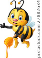 Cartoon bee holding honey dipper 27882634