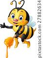 Cartoon bee holding honey dipper 27882634