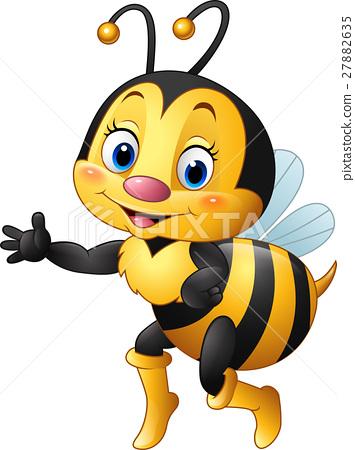Cartoon bee waving hand 27882635
