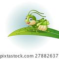 Cartoon grasshopper on leaf 27882637
