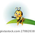 Cartoon bee sitting on a leaf 27882638