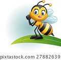 Cartoon bee standing on a leaf 27882639