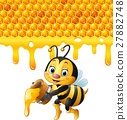 Cartoon bee holding bucket with honeycomb  27882748