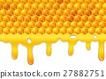 Cartoon honeycomb with honey dripping 27882751
