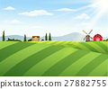 Farm landscape with barn and windmill 27882755