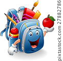Cartoon school bag holding red apple 27882786