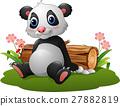Cartoon panda sitting 27882819
