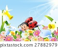 Cartoon funny ladybug flying over flower field 27882979