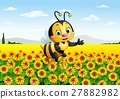Cartoon bee in the sunflower field 27882982