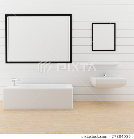 mock up photo frame in the toilet in 3D rendering 27884059