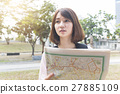 woman  look searching direction on location map 27885109