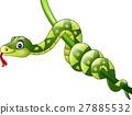 Cartoon green snake on branch 27885532