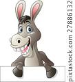 Cartoon funny donkey holding blank sign 27886132