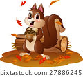 Cartoon funny squirrel holding pine cone 27886245