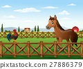 Cute cartoon rooster and horse in the farm 27886379