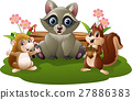 Cartoon funny raccoon, hedgehog and squirrel  27886383