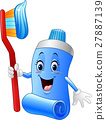 Cartoon funny toothpaste and toothbrush 27887139