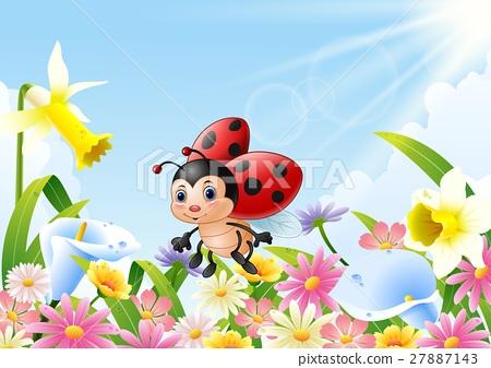 Cartoon funny ladybug flying over flower field 27887143