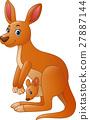 Cartoon red kangaroo carrying a cute Joey 27887144