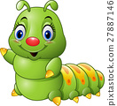 Cartoon green caterpillar 27887146