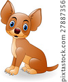 Cartoon young dog sitting 27887356