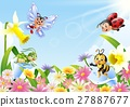 Cartoon insects on flower field 27887677