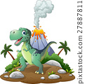 Cartoon happy dinosaur in the prehistoric backgrou 27887811