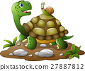Cartoon funny turtle with snail 27887812