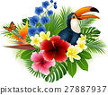 Cartoon toucan and butterfly with flowers and leav 27887937